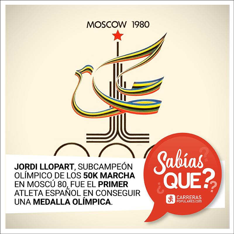 Jordi Llopart, subcampeón olímpico de los 50 km marcha en Moscú 80, fue el primer atleta español que consiguió una medalla olímpica.