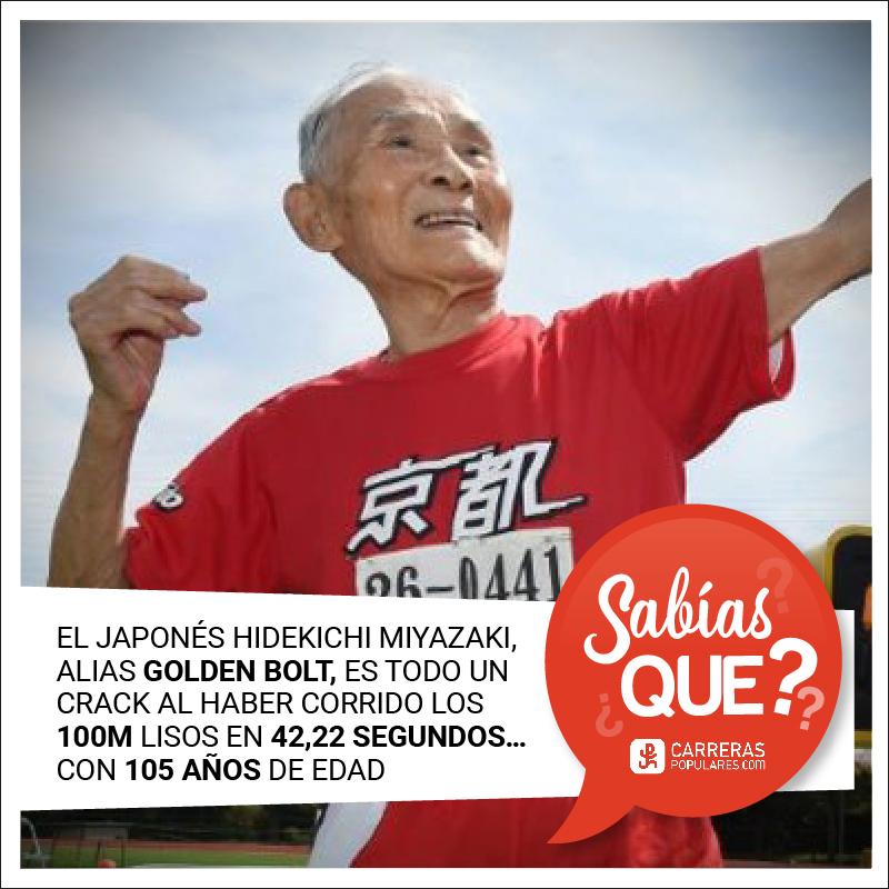 Hidekichi Miyazaki, alias Golden Bolt, es todo un crack al haber corrido los 100 metros lisos en 42,22 segundo con 105 años