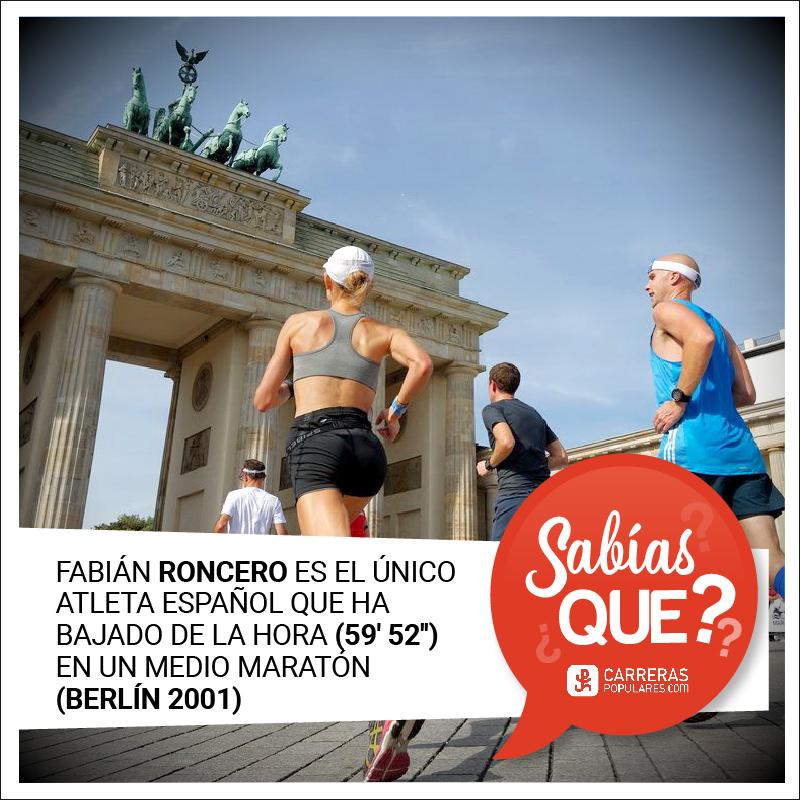 Fabián Roncero es el único atleta español que ha bajado de la hora (59´ 52´´ - Berlín 2001) en un medio maratón.