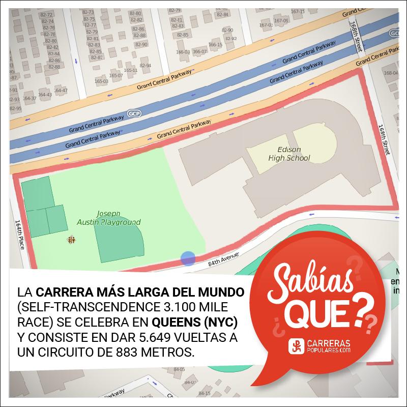 La carrera más larga del mundo (Self-Transcendence 3100 Mile Race) se celebra en Queens (NYC) y consiste en dar 5.649 vueltas a un circuito de 883 metros.