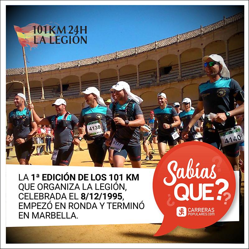 La primera edición de los 101 km que organiza La Legión, celebrada el 8 de diciembre de 1995, empezó en Ronda y terminó en Marbella.